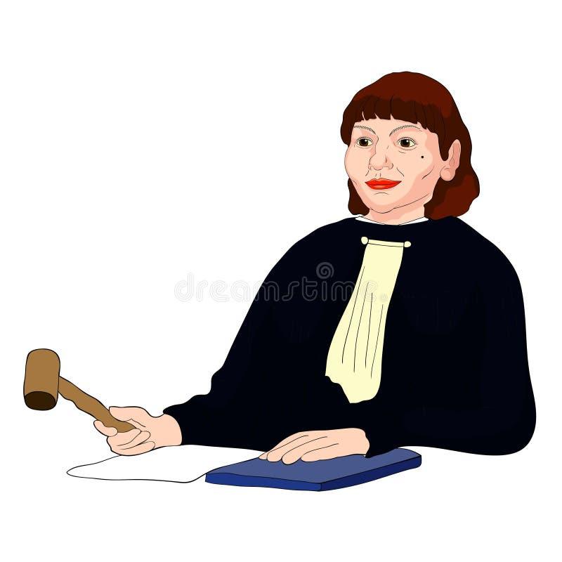 Jugez la femme d'une cinquantaine d'années de profession avec les cheveux bruns Illus de vecteur illustration stock