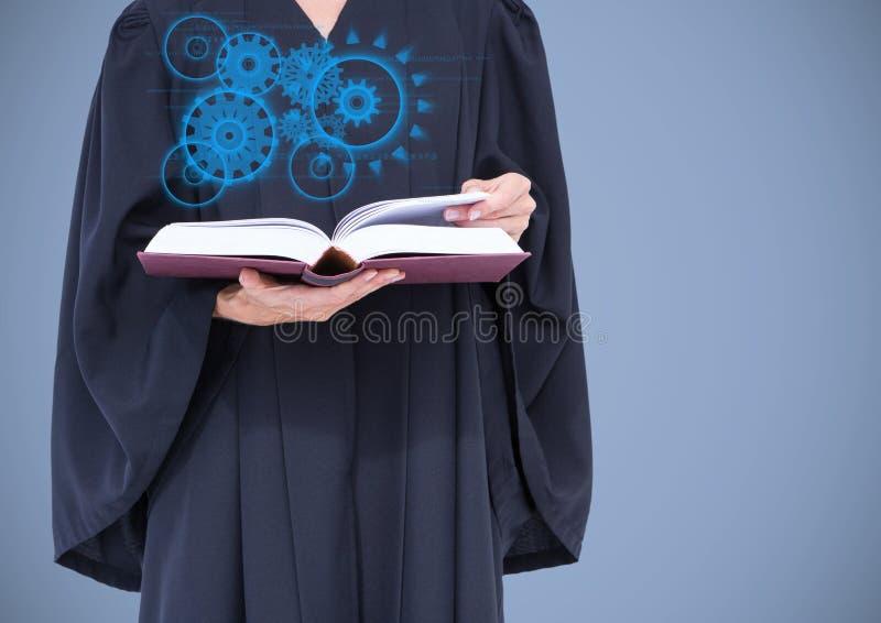Jugez la mi section avec l'interface bleue et le livre sur le fond lilas images libres de droits