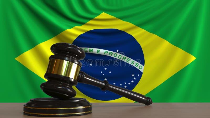 Jugez le marteau du ` s et le bloquez contre le drapeau du Brésil Rendu 3D conceptuel de cour brésilienne illustration libre de droits
