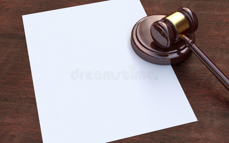 Jugez le marteau et le papier sur le fond en bois brun photos stock
