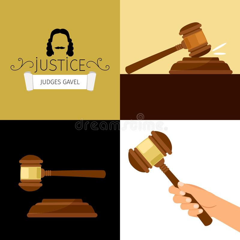 Jugez le marteau Illustration juridique de vecteur de bande dessinée de marteau, marteau d'arbitre à disposition illustration de vecteur
