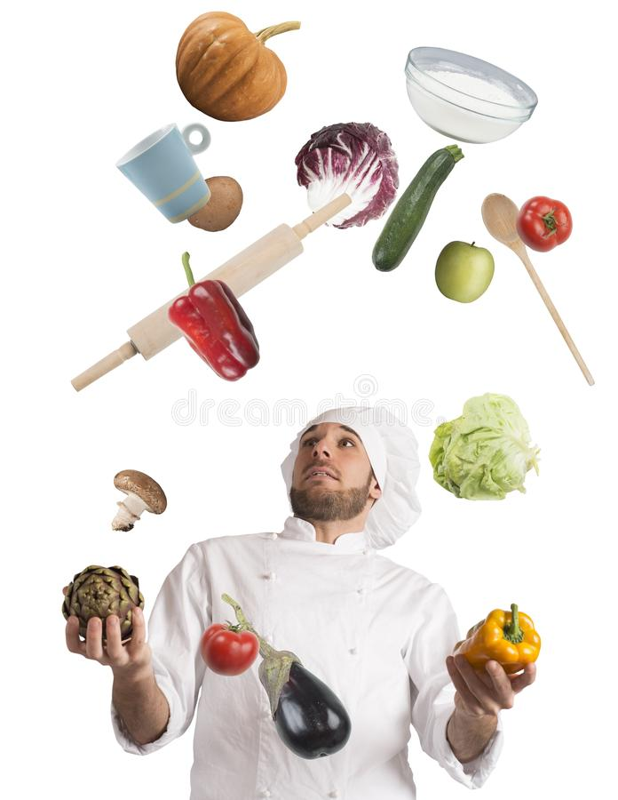 Download Juggle while cooking stock image. Image of innovation - 54097385