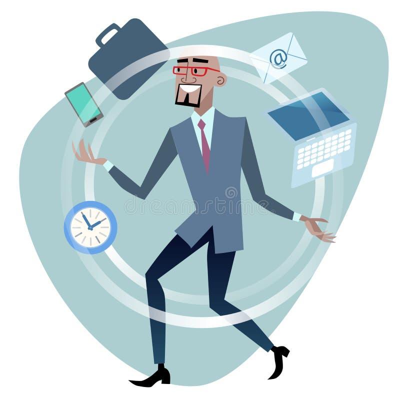Juggler africano do conceito da gestão de tempo do homem de negócios ilustração stock