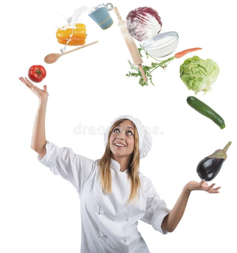 Juggler chef royalty free stock photo
