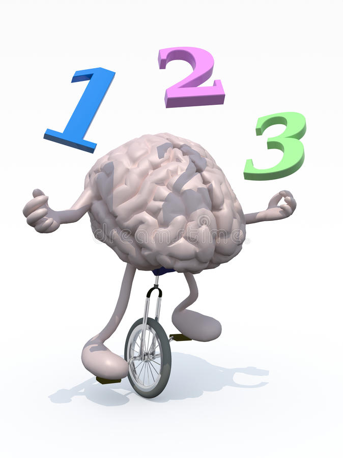 Juggler do cérebro humano com números ilustração royalty free
