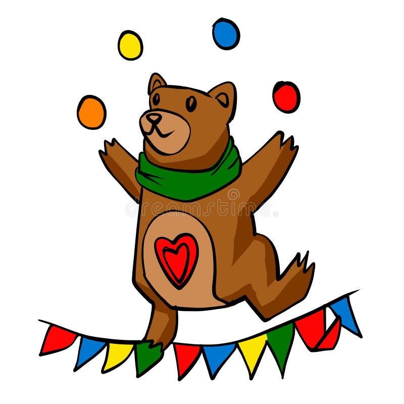 Juggler do urso dos desenhos animados ilustração royalty free