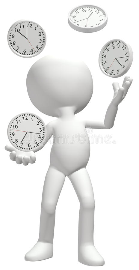 Juggler juggles clocks manage time schedule. A clock juggler juggles four time clocks to manage a busy schedule stock illustration