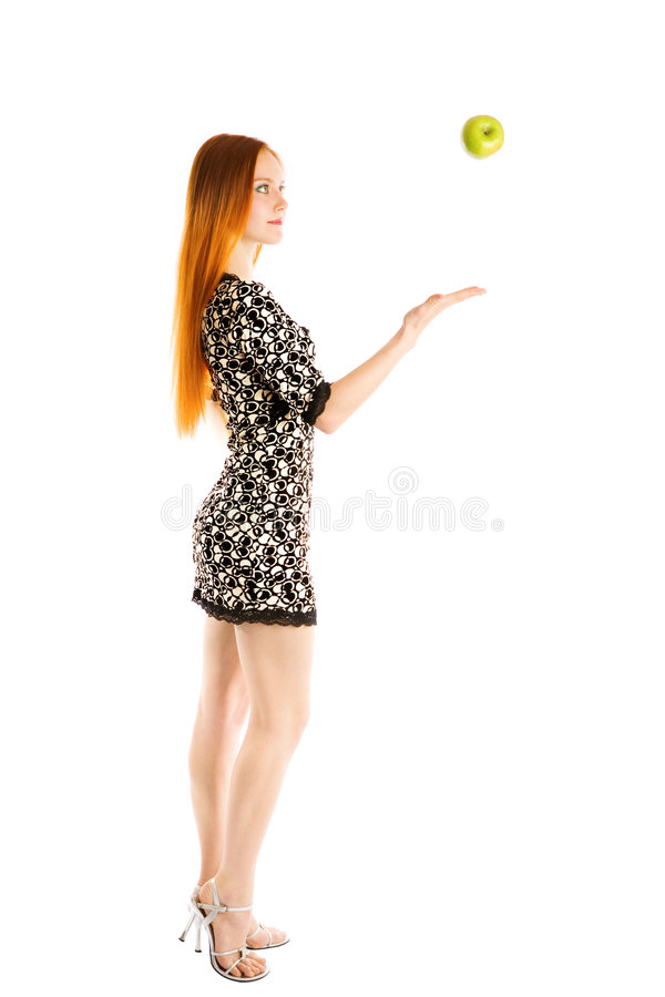 Download Juggling with an apple stock image. Image of female, girl - 5518637