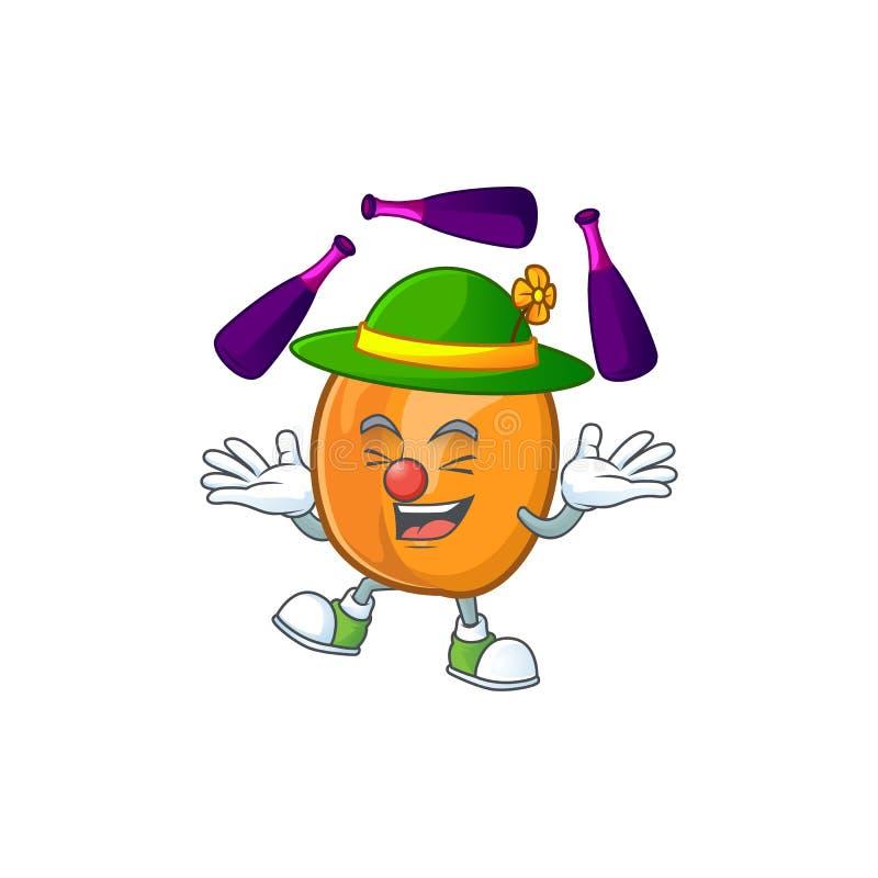 Juggling apricot fruit in the cartoon shape. Vector illustration stock illustration
