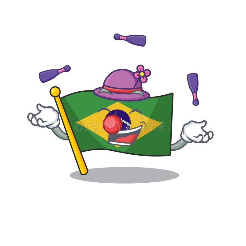 Juggling brazil flag kept in mascot drawer. Illustration vector royalty free illustration