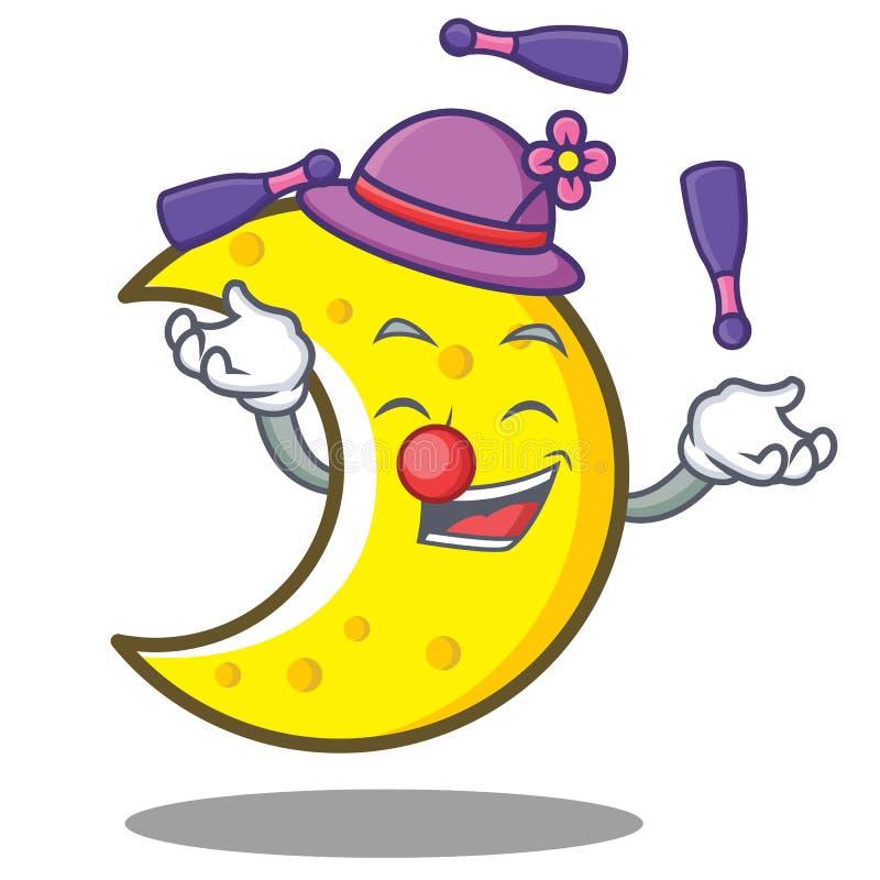Juggling crescent moon character cartoon. Vector illustration vector illustration