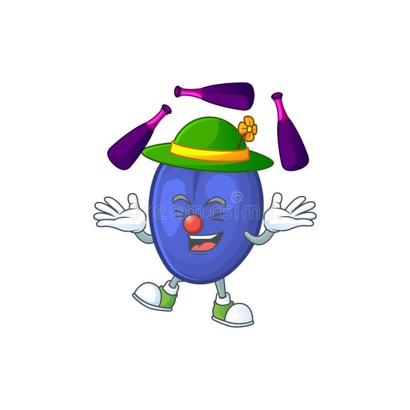 Juggling fruits prune character on white background. Vector illustration stock illustration