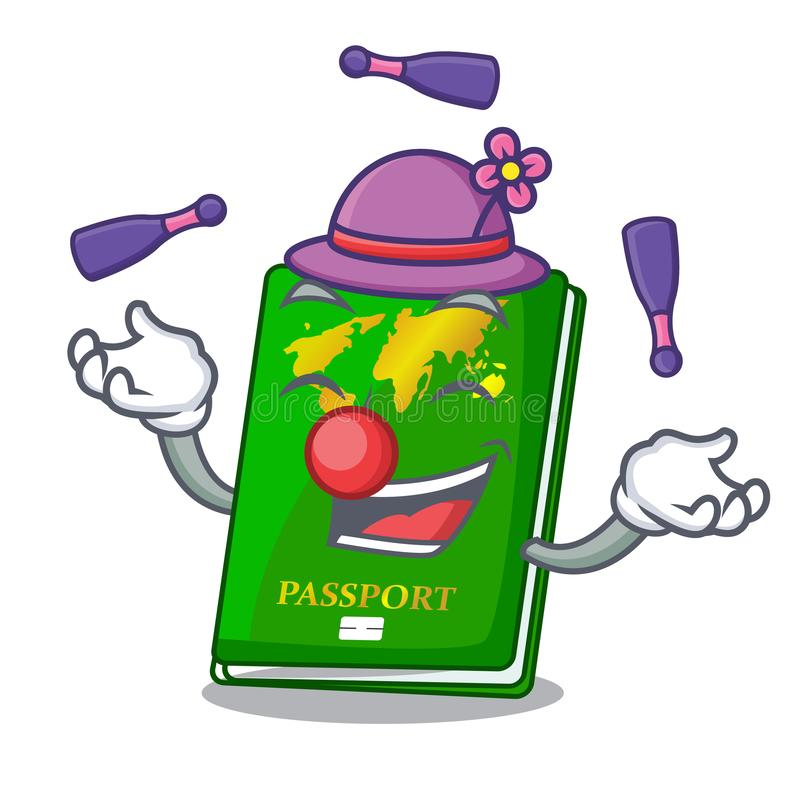Juggling green passport on the mascot table. Vector illustration royalty free illustration
