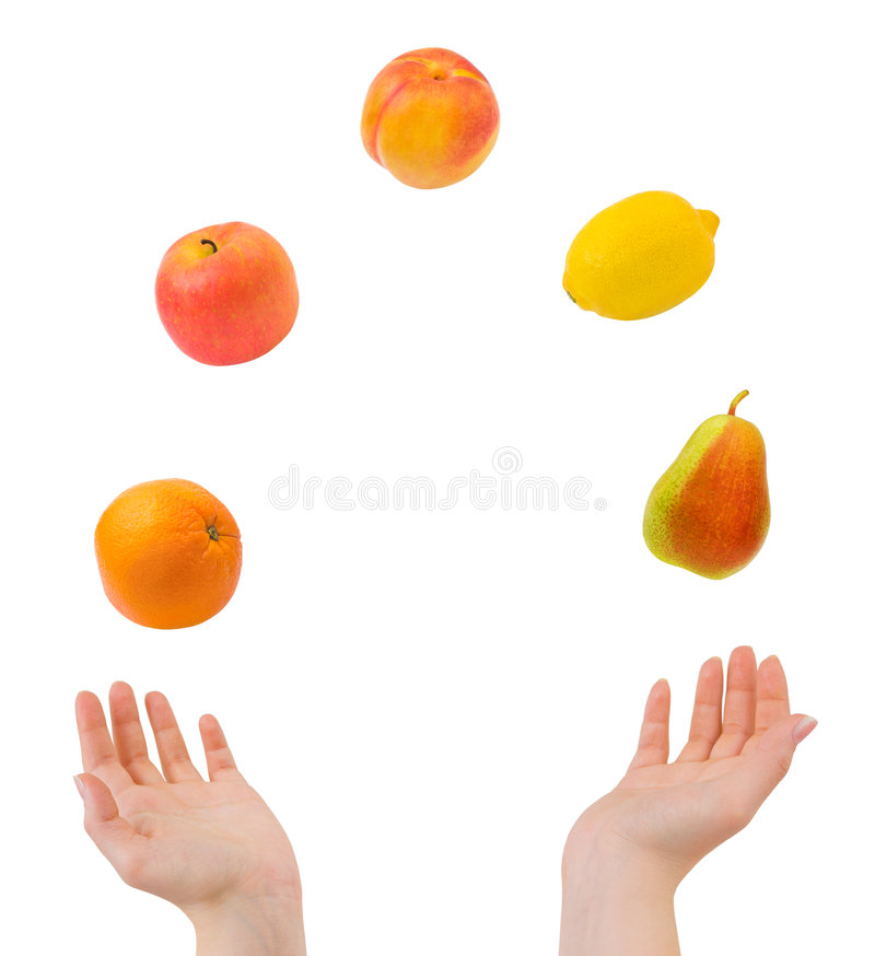 Juggling Hands And Fruits Stock Photos