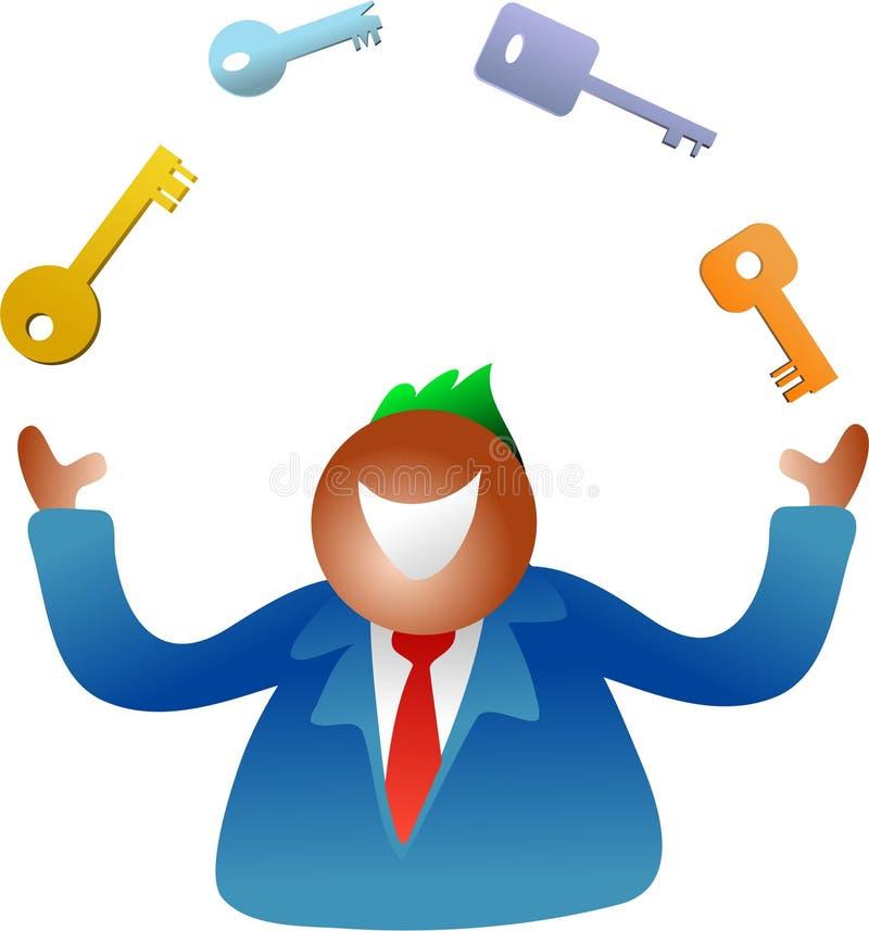 Juggling keys stock illustration