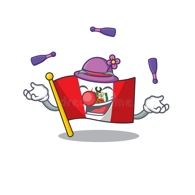 Juggling peru flag stored in character drawer. Vector illustration vector illustration