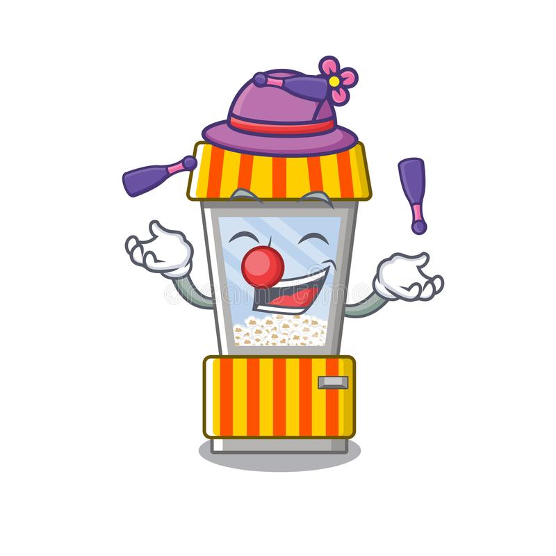 Juggling popcorn vending machine in mascot shape. Vector illustration royalty free illustration