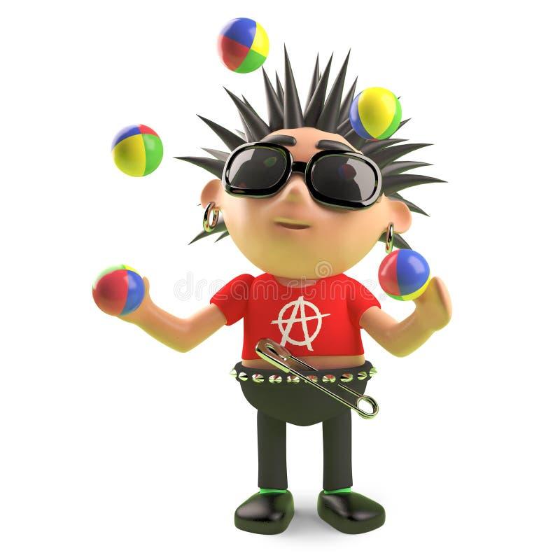 Juggling punk rocker plays with his juggling balls, 3d illustration. Render stock illustration