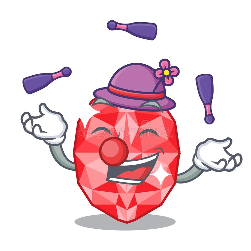 Juggling ruby gems in the mascot shape. Vector illustration royalty free illustration