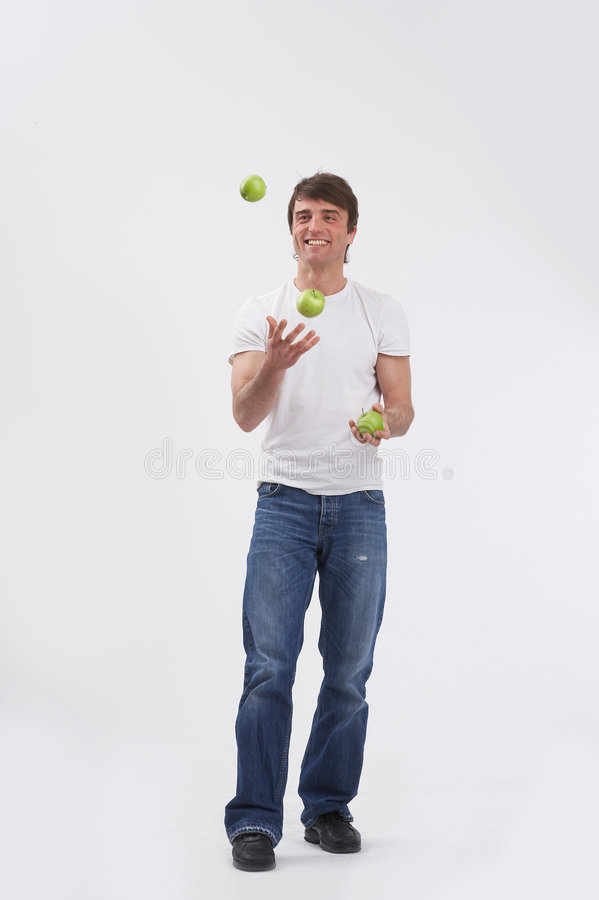 Download Juggling three apples stock image. Image of jeans, move - 2482893