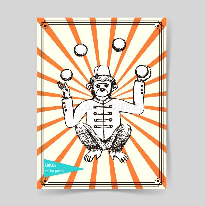 Juglar del mokey del bosquejo en estilo del vintage ilustración del vector