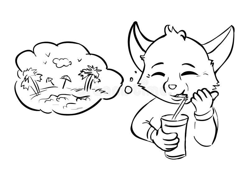 Jugo de la bebida del soñador - burbuja stock de ilustración