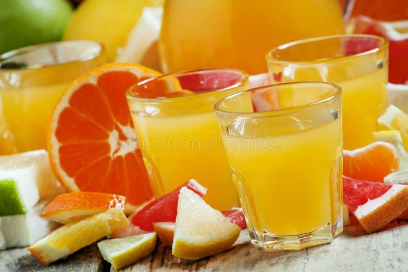 Jugo de la fruta cítrica de las naranjas, mandarinas, pomelos, limones, appl imagenes de archivo