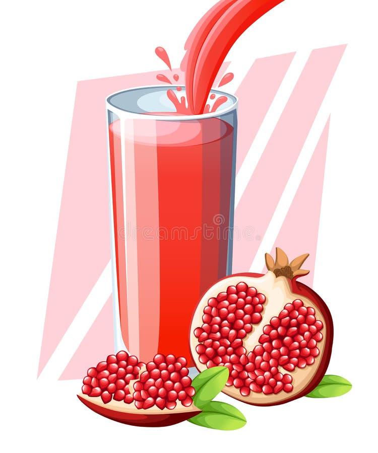Jugo de la granada Jugo de fruta fresco en vidrio Smoothies de la granada Flujo y chapoteo del jugo en vidrio lleno ISO del ejemp libre illustration