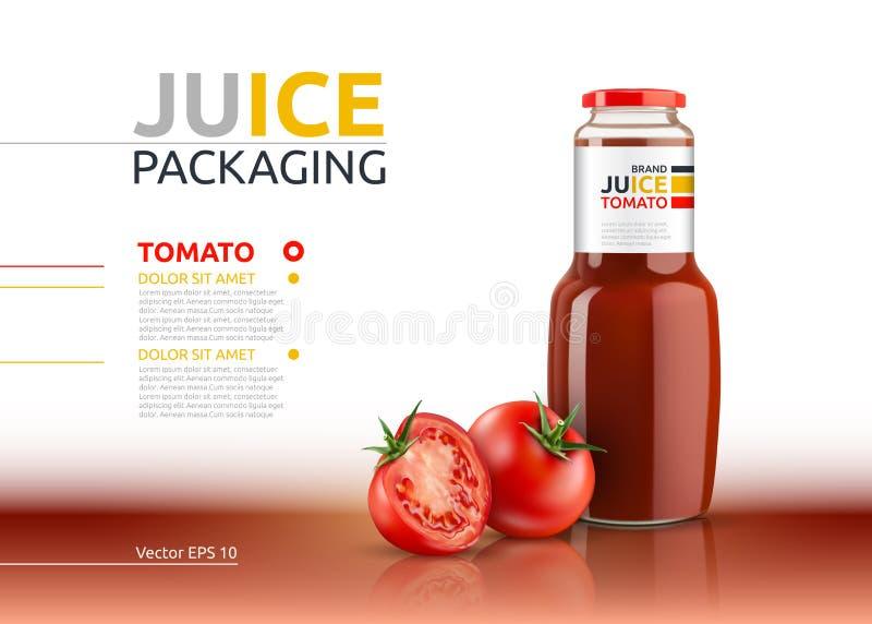 Jugo de tomate que empaqueta mofa realista del vector para arriba La salsa de tomate, el condimento o la botella de salsa de toma stock de ilustración