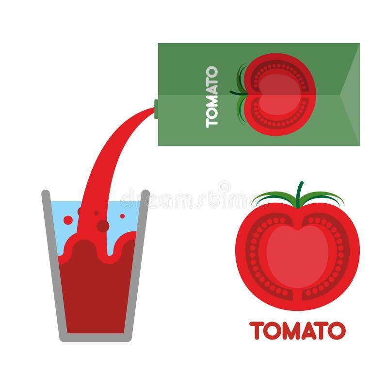 Jugo de tomates Vierta el jugo de tomate en el vidrio Ilustración del vector ilustración del vector