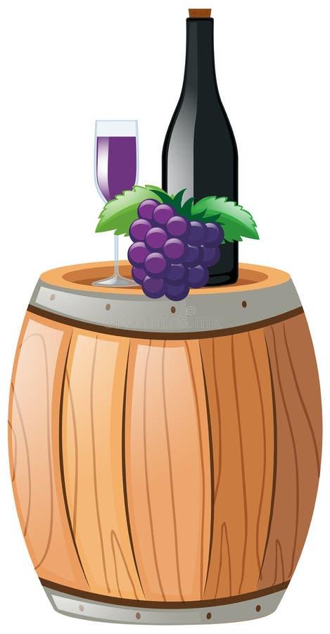 Jugo de uva en vidrio y botella ilustración del vector