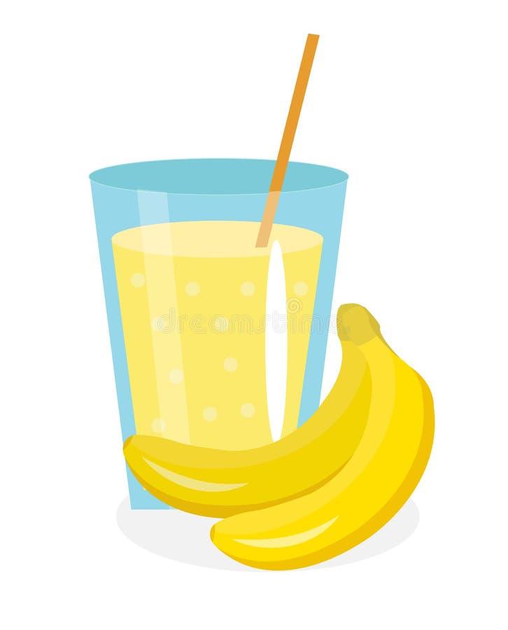 Jugo del plátano en un vidrio Fresco aislado en el fondo blanco fruta e icono stock de ilustración