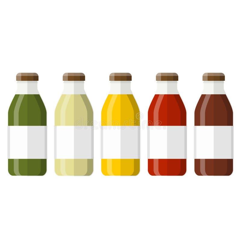 jugo en una botella de cristal stock de ilustración