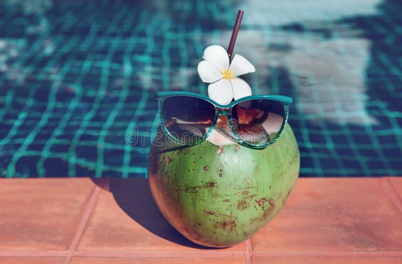 Jugo fresco del coco con la paja, la flor y las gafas de sol en la frontera imagenes de archivo