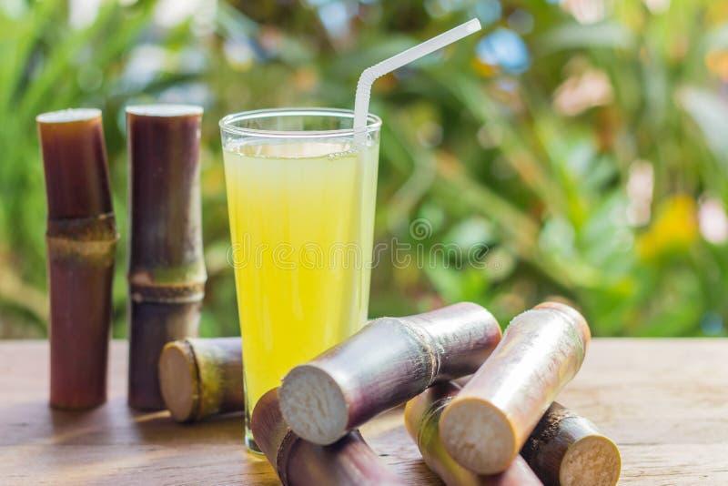 Jugo fresco para una dieta del detox - frutas orgánicas de la caña de azúcar en woode imagen de archivo libre de regalías