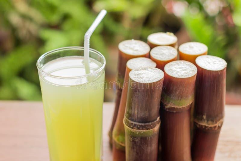 Jugo fresco para una dieta del detox - frutas orgánicas de la caña de azúcar en woode fotografía de archivo libre de regalías