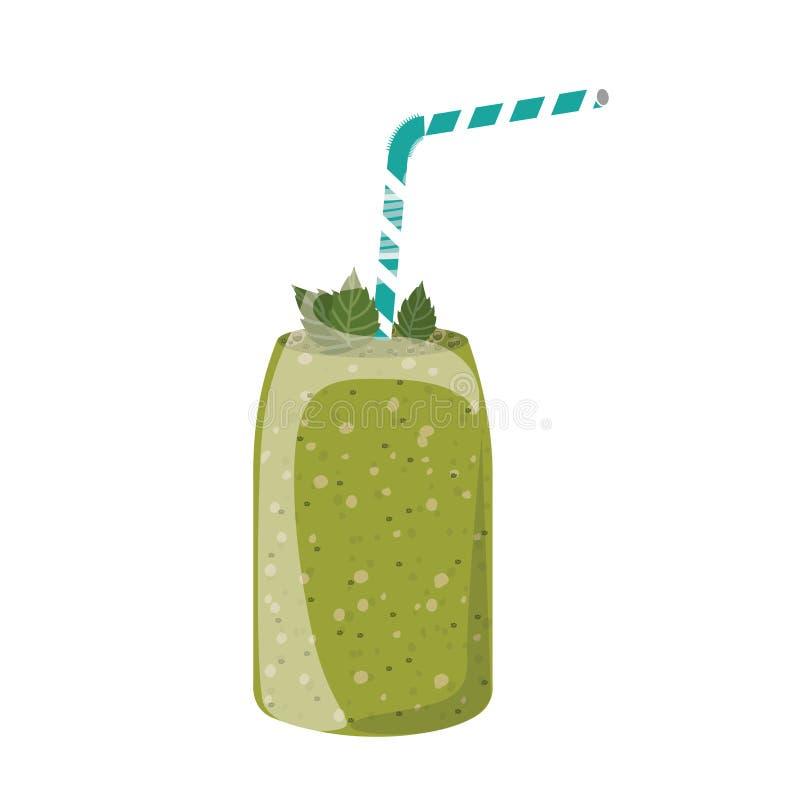 Jugo verde sano afuera stock de ilustración