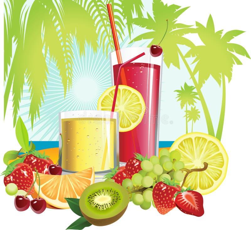 Jugo y frutas. ilustración del vector