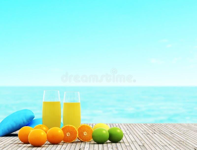 Jugo y frutas imagen de archivo libre de regalías