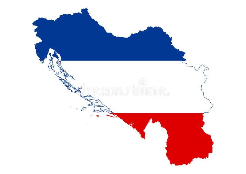 Jugosławia półwysepa stanu mapy wektoru sylwetka royalty ilustracja