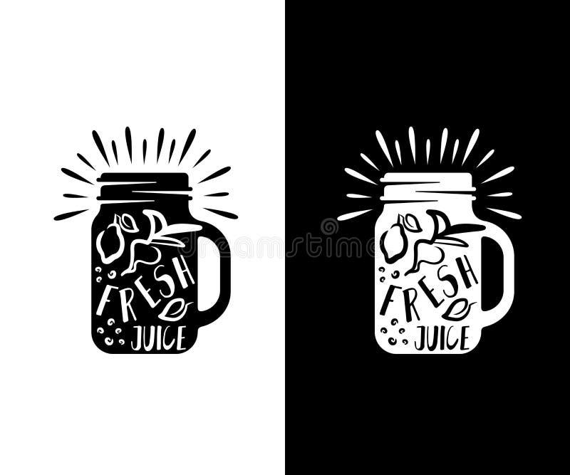 Jugos, albañil del tarro con el limón y remolachas, retro y vintage, diseño del logotipo Comida, bebida, bebidas, smoothie, café  ilustración del vector