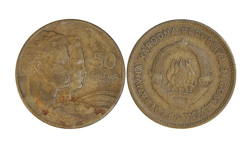 Jugoslavija viejo 50 dinares imagen de archivo