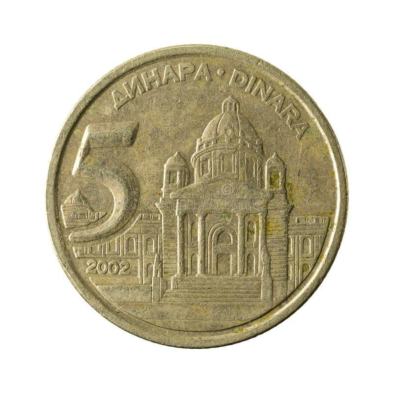 jugoslavisk isolerad myntavers 2002 för dinar 5 royaltyfri foto