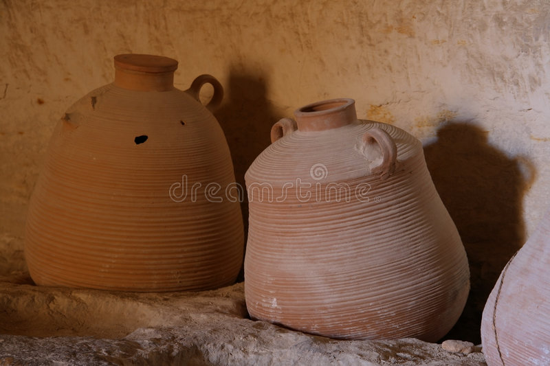 Jugs. In a cave in the ancient city of Avdat in Israel royalty free stock photo