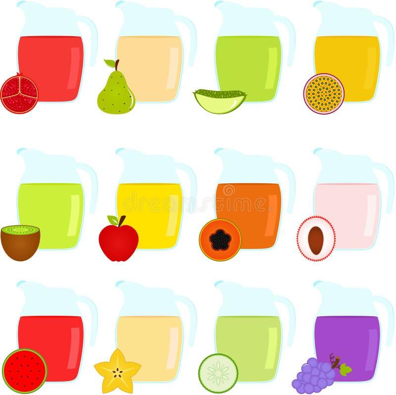 Jugs Of Fruit Juice Royalty Free Stock Image