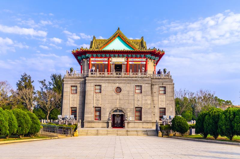 Juguang Tower in Kinmen, Taiwan. The tower ground covers an area of 6,612 m2. The tower was built with a traditional Chinese style with two cannons at the front stock photo