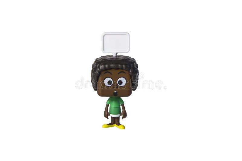 Juguete aislado del hombre negro, emoci?n foto de archivo libre de regalías