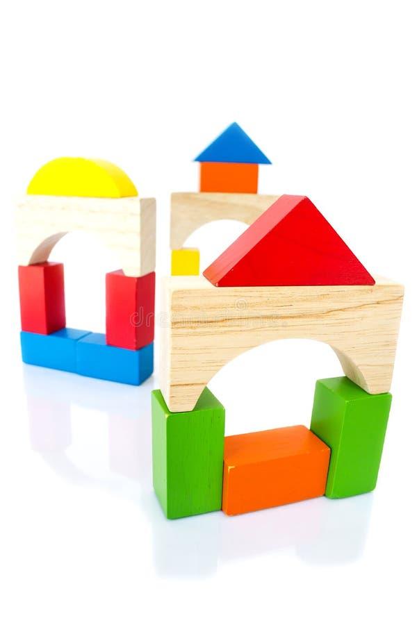 Juguete colorido del bloque de madera imagenes de archivo