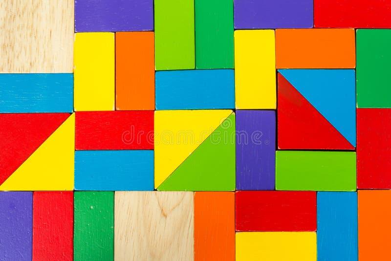 Juguete colorido del bloque de madera fotografía de archivo
