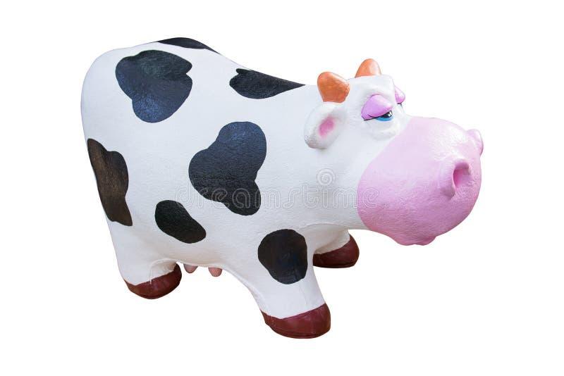 Juguete de goma de la vaca aislado en el fondo blanco stock de ilustración